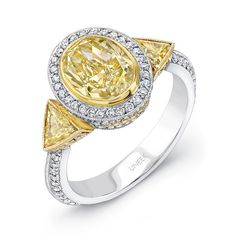 Uneek Natureal Yellow Oval Shape Diamond Engagement Ring LVS398 - Fancy yellow oval shape diamond center bezel set and two fancy yellow trillion diamonds bezel set on each side of this platinum diamond engagement ring.