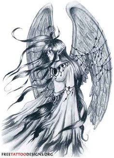 grey-ink-winged-gothic-fairy-tattoo-design.jpg (412×570)