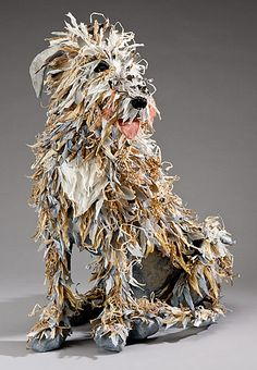 Papier Mache Dog Sculpture by artist Nancy WinnNancy Winn is a papier mache artist who lives on a vineyard in Sebastopol, California.I chose this image because the artist created a complete dog sculpture out of colorful strips of paper, and I though Paper Mache Sculpture, Dog Sculpture, Animal Sculptures, Paper Sculptures, Sculpture Ideas, Textile Sculpture, Sculpture Projects, Origami, Paperclay