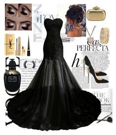 """""""Prom night 🖤"""" by krishayshay on Polyvore featuring Whiteley, Cerasella Milano, MAC Cosmetics, Christian Louboutin, Yves Saint Laurent, Rina Limor, Rosantica, Chanel and Alexander McQueen"""