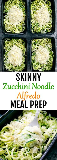 Skinny Zucchini Noodle Alfredo Meal Prep. Zucchini noodles are sauced in a lightened up alfredo sauce for an easy meal.