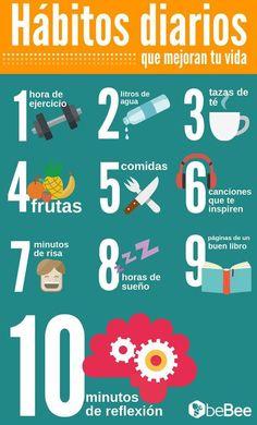 Hábitos diarios que mejoran tu vida #Infografía #Consejos #Salud #nutricioninfografia