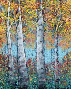 SOLD - Fall Birch Four, acrylic on flat canvas panel, 8x10