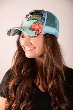 Floral Mesh Trucker Hat - Mint - HAT736MT