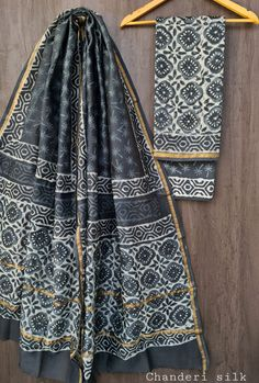 Price Rs 1600 + Shipping extra Hand block Printed chanderi silk dress materials Top and dupattas chanderi silk (2.50×2 mtrs) Bottom cotton (2.50 meters) Chanderi Suits, Chanderi Silk Saree, Silk Sarees, Silk Suit, Exclusive Collection, Kimono Top, Pure Products, Prints, Fabrics