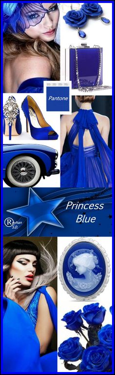 '' Princess Blue - Pantone Spring/ Summer 2019 Color '' by Reyhan S. Blue Palette, Fall Color Palette, Color Harmony, Color Balance, Lace Dress Styles, Color Collage, Crazy Colour, Spring Fashion Trends, Outfit Combinations