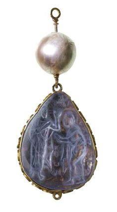 Gold pear-shaped pendant incorporating a Byzantine pale blue/white sapphire reverse-set cameo of the incredulity of St Thomas in an enamelled mount, surmounted by a large pearl. Part of the Cheapside Hoard, 6th-7th century (cameo); late 16th-17th century
