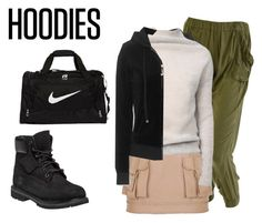 """""""Winter Layering: Hot Hoodies"""" by charlotte-shuann ❤ liked on Polyvore featuring Juicy Couture, Balmain, Rick Owens, Timberland, NIKE, women's clothing, women's fashion, women, female and woman"""