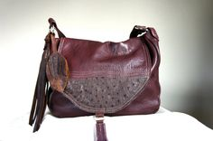 NEW///LAVINIA in Plum Leather with Authentic Ostrich Hide and Adjustable Strap
