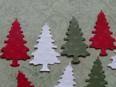 100 Christmas Tree Red Green White Embossed by SewPrettyInVermont, $3.75