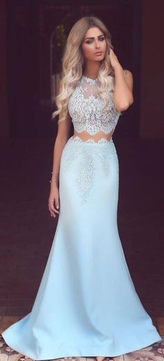 Two Piece Prom Dress,Prom Dress with Appliques,Light Blue Prom,Satin Prom Dress,Floor Length Prom