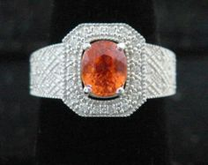2CT Mandarin Garnet & Diamond Engagement Ring, Solid 14K White Gold, 100% Genuine!