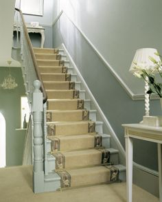 Royale Stair Rods — Stairrods (UK) Ltd - Manufacturers of Luxury Carpet Accessories Hallway Paint Colors, Stairs Colours, Paint Colours, House Stairs, Carpet Stairs, Stairway Carpet, Dado Rail Hallway, Entry Hallway, Farming