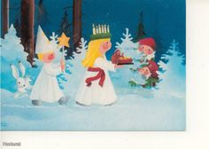 St. Lucia procession with star boy and tomte