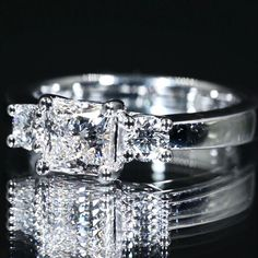 Three Stone Engagement Rings, Three Stone Rings, Wedding Day, Wedding Rings, Diamond, Jewelry, Pi Day Wedding, Jewlery, 3 Stone Engagement Rings