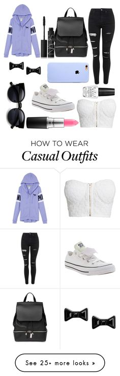 """CASUAL DAY"" by khaylalala on Polyvore featuring Topshop, NLY Trend, COSTUME NATIONAL, Converse, MAC Cosmetics, Marc by Marc Jacobs, OPI, NARS Cosmetics, women's clothing and women's fashion"