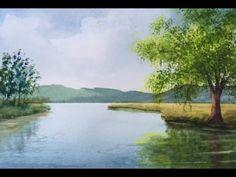Акварель.Река. Как рисовать отражение в  воде, траву.  How to paint refl...