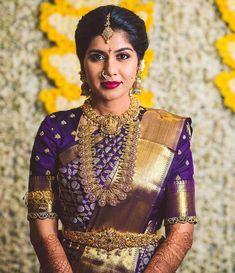 Bridal Sarees South Indian, Indian Bridal Outfits, Indian Bridal Fashion, Indian Designer Outfits, Wedding Outfits, Wedding Saree Blouse Designs, Half Saree Designs, Blouse Designs Silk, Wedding Sarees