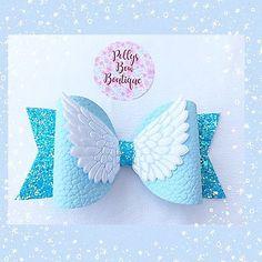 Handmade Cute Aqua ,Baby Blue ,white Glitter Angel Wings Fabric Bow Hair Clip