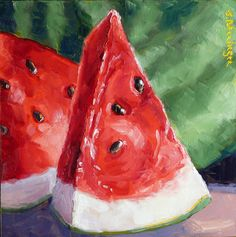 Daily Paintings in Oil ~ All images are Copyrighted Food Art Painting, Simple Oil Painting, Fruit Painting, Painting & Drawing, Oil Pastel Drawings, Art Drawings, Acrylic Art, Acrylic Painting Canvas, Watermelon Art