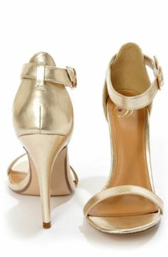 My Delicious Chacha Light Gold Metallic Single Strap High Heels - StackDealz