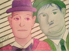 Laurel & Hardy Playing with colors Laurel And Hardy, Colors, Drawings, Art, Colour, Sketch, Kunst, Portrait, Drawing