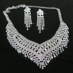 Shiny Alloy With Rhinestone Wedding Bridal Jewelry Set - (Including Necklace, Earrings) - $47.99 - Trendget.com