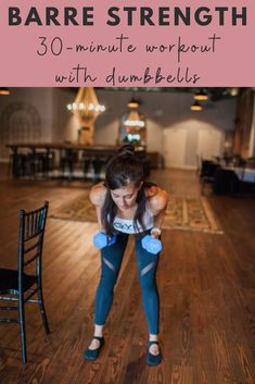 A New workout video is up! This one takes a classic barre workout to the next level by using dumbbells. This is one of my very favorite ways to train! Strength workout video you can do at home. All you need is a pair of dumbbells! | Barre Workouts | The Fitnessista Barre Workout Video, Card Workout, 30 Minute Workout, Workout Videos, Barre Workouts, Body Workouts, Workout Routines For Women, Home Exercise Routines, Fitness Workout For Women