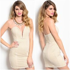 """Beautiful  mesh nude dress sz S M L Beautiful Ivory crocheted mesh over solid nude lining  small medium  large  excellent quality  brand new with tags  deep plunge front zip back,   Size small bust 32-34  waist 28-30 hips 34-36 Size medium bust 34-36 waist 30-32 hips 36-38 size large bust 36-38 waist 32-34 hips 38-40   length from armpit down 25"""" 100% polyester                                                                                PRICE IS FIRM UNLESS BUNDLED  Boutique Dresses"""
