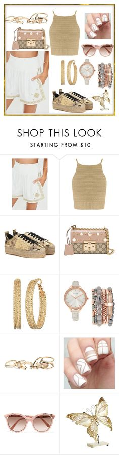 """""""gold"""" by oulia-la ❤ liked on Polyvore featuring SHE MADE ME, McQ by Alexander McQueen, Gucci, GUESS, Jessica Carlyle, Victoria Beckham and Pier 1 Imports"""