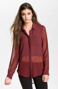 Lush Sheer Panel High/Low Shirt (Juniors) | Nordstrom