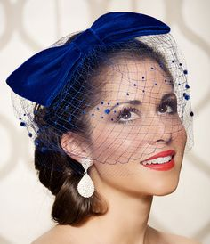 Velvet Cobalt Royal Blue Bow Cocktail Hat with by GildedShadows, $82.00 to leave the reception in