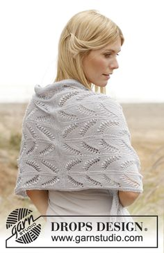 Knitted DROPS shawl with lace pattern and bobbles - free pattern
