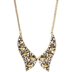 Louise Gold Spiked Diamante Collar Necklace ($24) ❤ liked on Polyvore