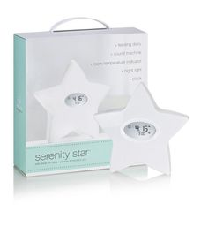 Aden & Anais - Serenity Star is a feeding & sleep system that includes an electronic feeding diary, nightlight, sound machine, clock and room temperature indicator. Baby Sleep, Baby Love, Baby Baby, Serenity, Baby Gifts, New Baby Products, Baby Gear, Star Uk, Baby Registry