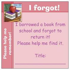 Missing library book reminder--