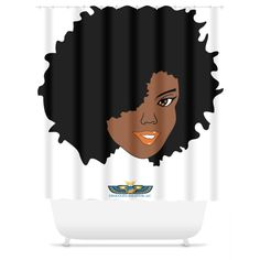 """Plush Afro Diva Shower Curtain. Add drama to your bath décor with the elegant Chocolate Ancestor Shower Curtain. The shower curtain features an intricate Chocolate Ancestor design that makes a bold statement and transforms your space. Eliminate the frustration of trying to find the perfect shower curtain with our eye-catching, machine washable bathroom accessories. Available in two sizes. Shower in beauty. Details:Sizes 71X74"""", 71x94""""Material or Use Poly printed shower..."""