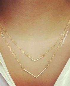 Gold Jeweled V Double Strand Necklace $14.99