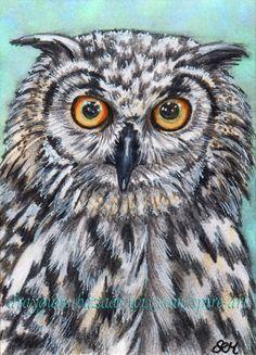 ACEO Original Art Bengal Eagle Owl Bird Portrait Realism Miniature - SMcNeill #Miniature
