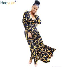 HAOYUAN Woman Sexy Retro Maxi Dress British Style Robe Long Sleeve Gold Pinted Long Dress Autumn Bodycon Elegant Party Dresses #Affiliate