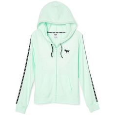 Beach Jersey Full-Zip Hoodie PINK ($46) ❤ liked on Polyvore featuring tops, jackets, green jersey and pink jersey