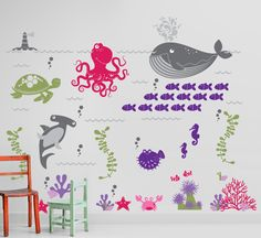 Ocean Friends - Under the Sea Nursery Vinyl Wall Decal - LARGE Set for Kids, Childrens Room. $160.00, via Etsy.