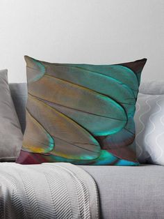 Turquoise/Orange feather / throw pillow Coussin déco 46 Orange And Turquoise, Feather, Throw Pillows, Deco, Art, Cushions, Quill, Toss Pillows, Art Background