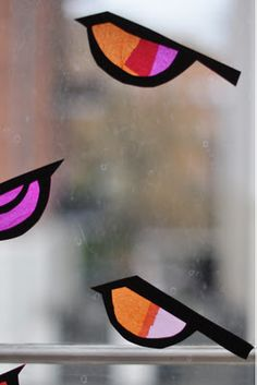 Birds for your windows. You can use regular school glue to adhere them to the window since it cleans easily with soap and water! <3