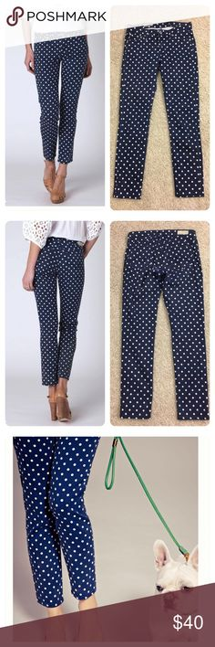 "Anthropologie Adriano Goldschmied polka dot jeans Anthropologie AG Stevie Ankle. Navy blue and white polka dot, cut at the ankle to make sure your fancy shoes can show!  Add an extra pattern under your belt, with these spotted, curve-skimming skinnies. Made exclusively for Anthropologie. No flaws noted.  By AG Five-pocket styling Cotton, tencel, polyurethane Machine wash 27.75""L 7.5"" rise; 6"" ankle USA Style No. A24550972 less Anthropologie Jeans"