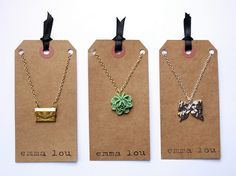 Simple necklace cards