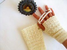 Super, Hand Crochet fingerless gloves./ Crochet wrist warmer fingerless gloves, Lace fingerless gloves./ Romantic./ Weddings. Front Page