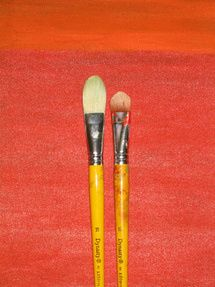 Art supplies for acrylic painting Filbert brush - Photo © Marion Boddy-Evans