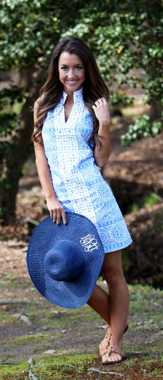 Sun Is Shining Blue Pattern Crochet Shift Dress from Mondaydress.com pairs perfectly with Monogrammed Breezy Floppy Hat from Marleylilly.com. #summer #preppy #fashion #love #derby #cute #ootd