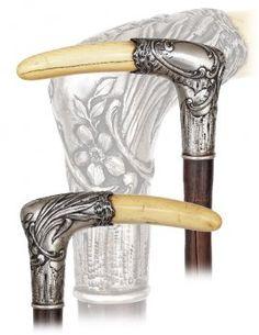 72. Silver And Ivory Art Nouveau Dress Cane-ca.